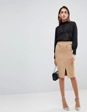 Suedette Pencil Skirt Lipsy going out dresses asos