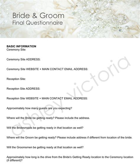 Wedding Planner Questions To Ask And Groom by Groom Wedding Questionnaires For Photographers Set Of
