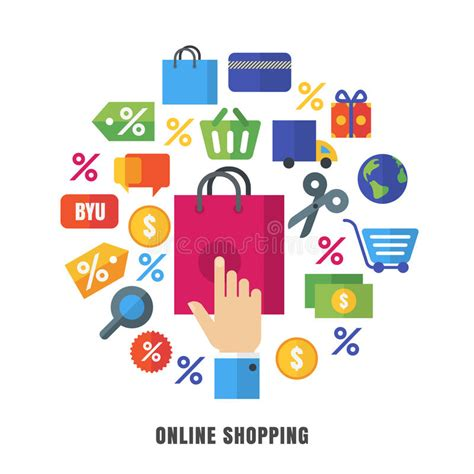design online marketplace online shopping vector background flat e commerce icons