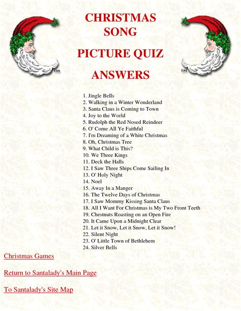 7 best images of printable christmas song trivia