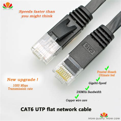 Lexcron Network Flat Cable Cat 6 3m 2m cat6 utp flat network cable gige ethernet cable gold