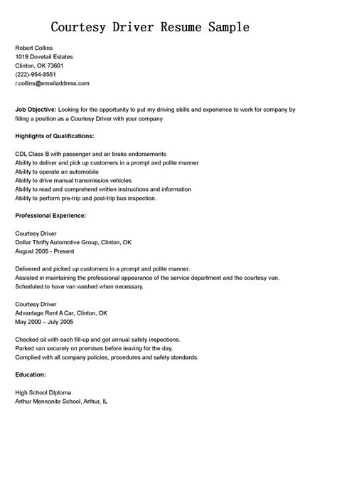 Courtesy Driver Cover Letter by Driver Resumes