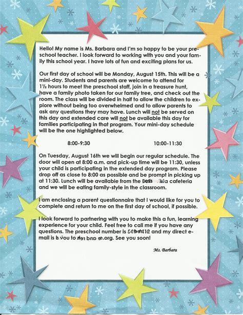 Parent Welcome Letter From Preschool For The Children Preschool Time Welcoming Parents And