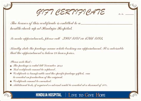 Gift Letter Certification P D Hinduja Hospital