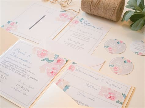Hochzeitseinladung Watercolor by Pocketfold Einladung Pastel Flowers Juhu Papeterie