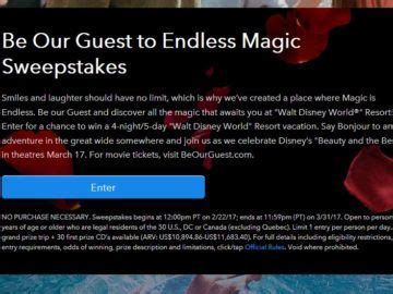 Disney Be Our Guest Sweepstakes - disney be our guest to endless magic sweepstakes