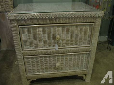 Wicker Nightstands For Sale white washed white wicker carol link nightstand great condition for sale in racine