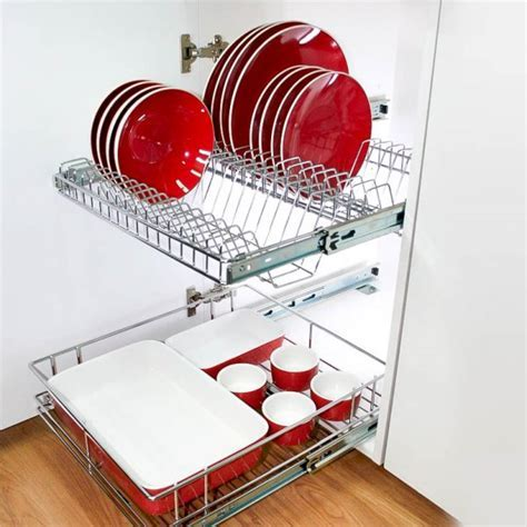 Stainless Steel Pull Out Plate Rack For Kitchen Cabinets