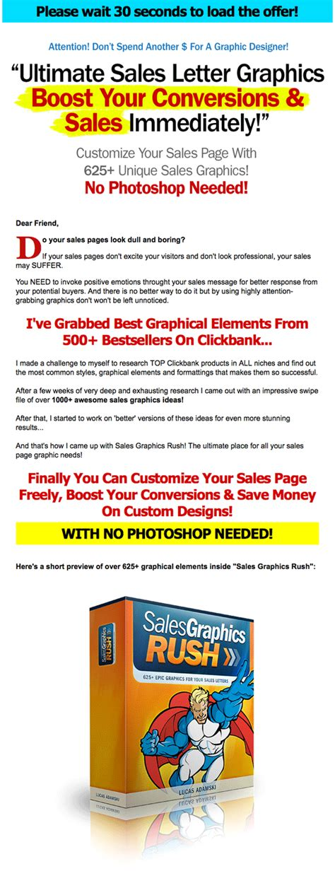 home page design sles sales page graphics images to improve conversion