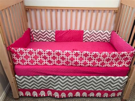 Pink Elephant Crib Bedding Pink Grey And Elephant Crib Bedding Crib By Sewsweetbabydesigns