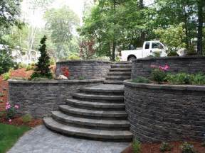 Retaining Wall Stairs Design Back Yard On Retaining Walls Sloped Yard And Wood Retaining Wall