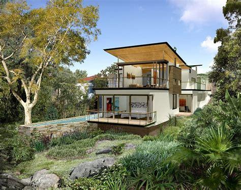 narrow block house plans australia sloping small concrete designs chinamans beach house maccormick associates architects