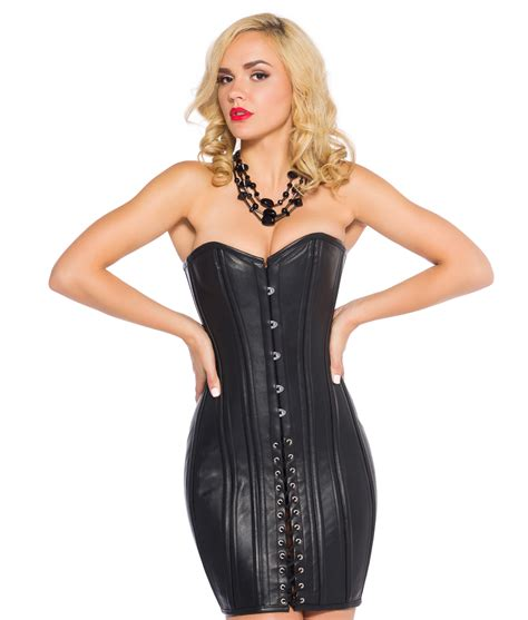 Corset New by Black Leather Corset Dress Steel Boned Corset Dress