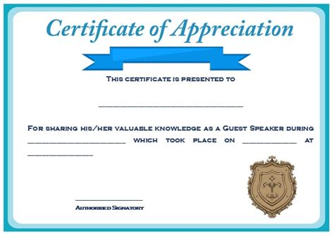 12 Genuine Sles Of Certificate Of Appreciation For Guest Speaker Demplates Certificate Of Appreciation For Speakers Template