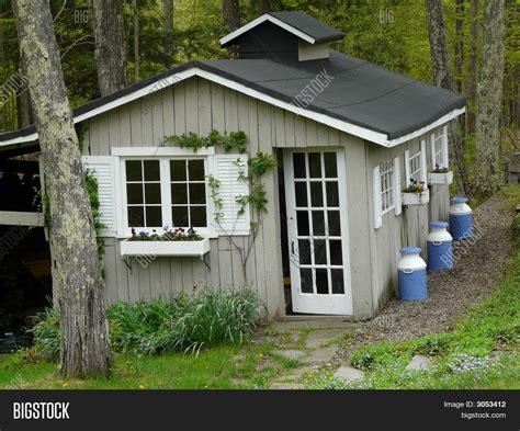 pretty garden shed image photo bigstock