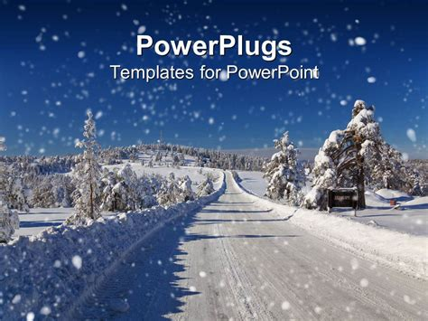Powerpoint Template Winter Snow Covered Road And Trees Road Snow Plowed 31494 Snow Powerpoint Template