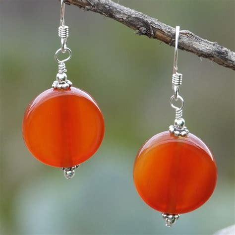 Handmade Gemstone Earrings - carnelian sterling silver handmade earrings gemstone ooak