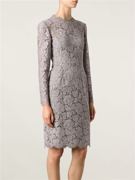 Dress Lace Grey valentino lace sheath dress in gray lyst
