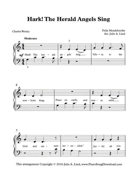 printable lyrics hark the herald angels sing hark the herald angels sing easy pdf christmas piano