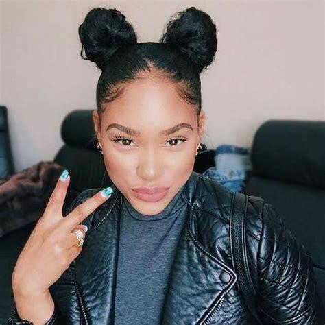 hairstyles like space buns throwback hairstyle two buns itsmyrayeraye natural hair