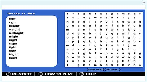 ight pattern words wordsearch ight game