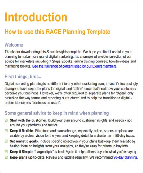12 Sle Digital Marketing Plan Sle Templates Business Plan Template For Marketing Company