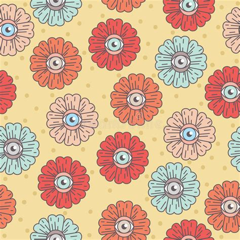 flower pattern in eyes pattern with flowers eye daisy stock vector