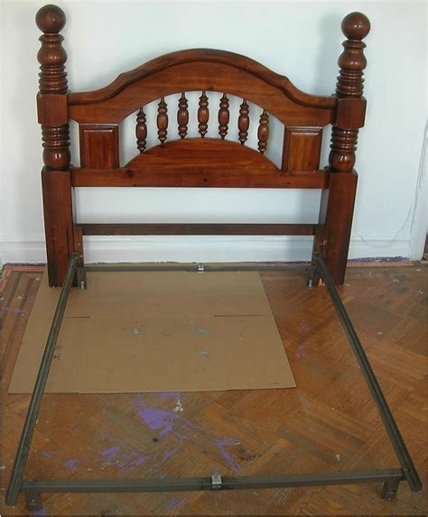 Antique Bed Frames Wood Vintage Circa 1970 S Wooden Solid Wood Headboard Metal Bed Frame Or Ebay