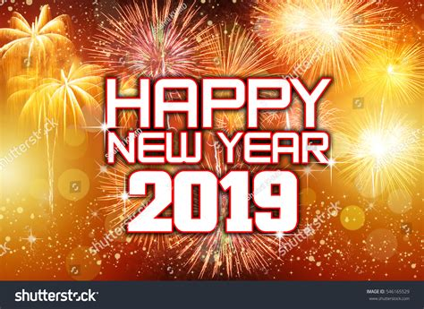 new year 2019 happy new year 2019 colorful fireworks stock photo