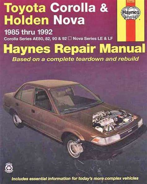 car manuals free online 1992 chevrolet g series g30 interior lighting toyota corolla holden nova 1985 1992 haynes owners service repair manual 1563922606
