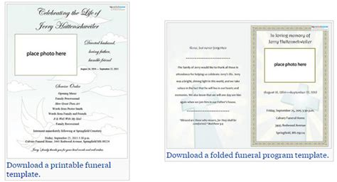 free memorial card template microsoft word free editable funeral program template template business
