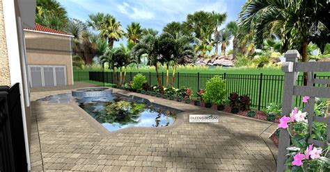 tropical landscaping  paver deck  small pool area