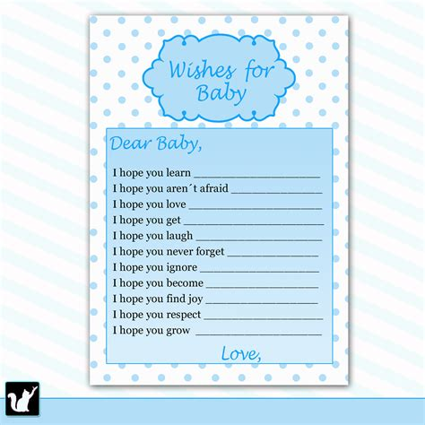 Wishes For Baby Boy Template well wishes for baby card baby boy shower printable activity with blue polka dots