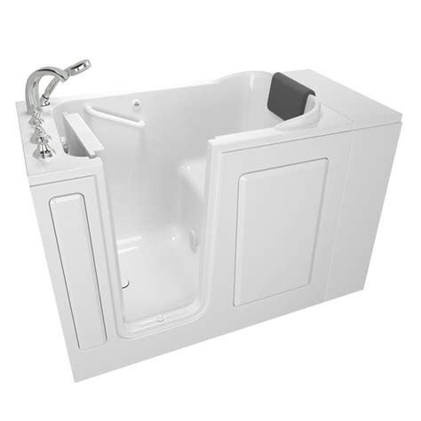 walk in bathtub lowes shop safety tubs 48 in white gelcoat fiberglass walk in bathtub with left hand drain at lowes com