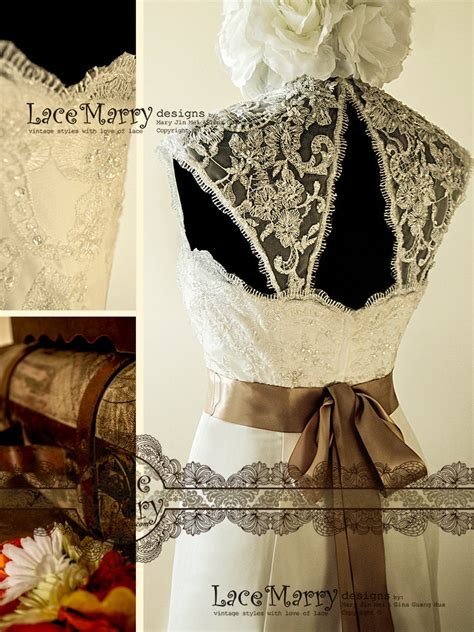 fascinating vintage style wedding dress with beaded by