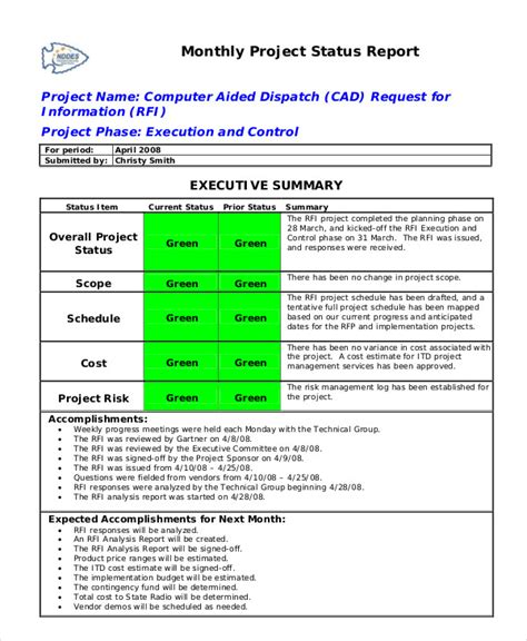 29 monthly status report template sample status report 11 documents