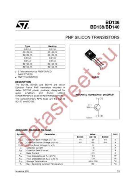 transistor bd140 16 bd140 16 даташит stmicroelectronics бесплатно скачать в pdf datasheet bd140 16 техническое