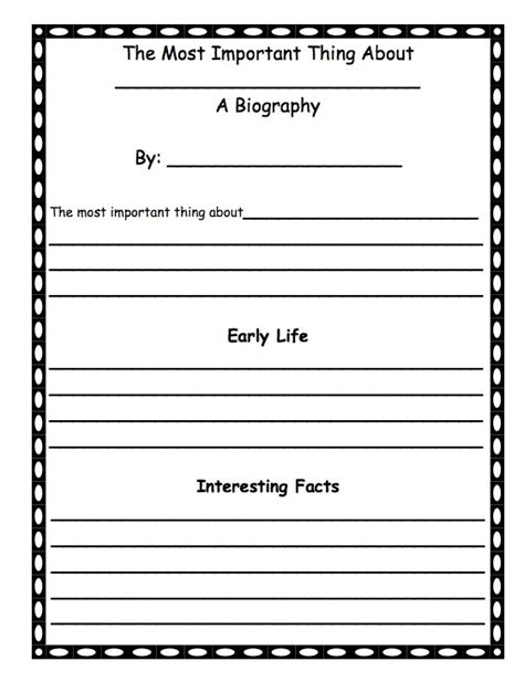 historical biography exle a first grade biography template after reading the