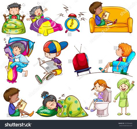 Reading Chair For Bedroom by Daily Activities Kids On White Background Stock Vector