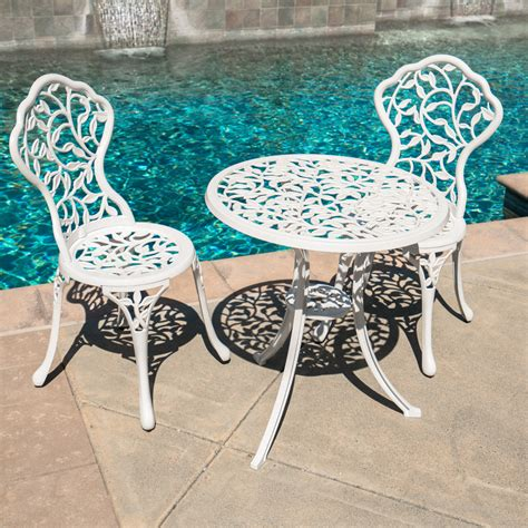 pc bistro set patio table chairs ivory furniture balcony