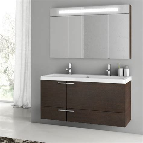 modern 47 inch bathroom vanity set with medicine cabinet grey oak zuri furniture