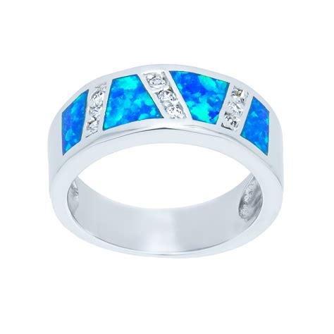 sterling silver blue opal ring cz sectional landing company