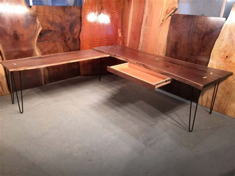 l and table combo custom walnut l shaped desk and table combo