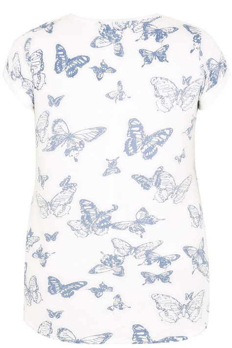 Run My Own Background Check White Blue Butterfly Print T Shirt With Silver Foil