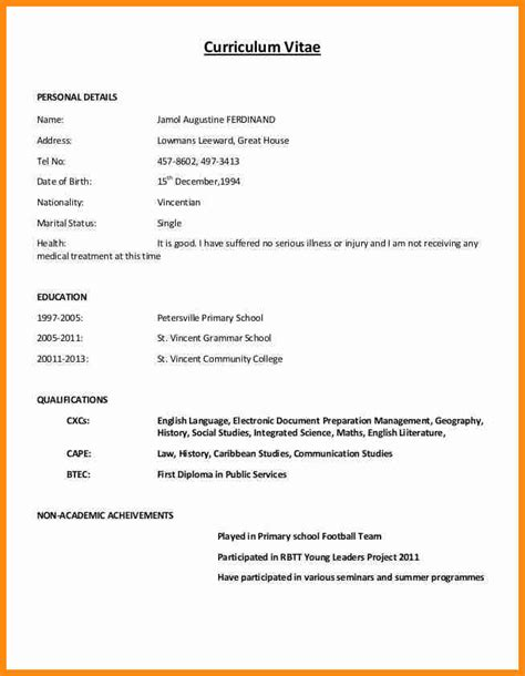 Curriculum Vitae Sample Format Pdf by 4 Example Of Simple Curriculum Vitae Musicre Sumed