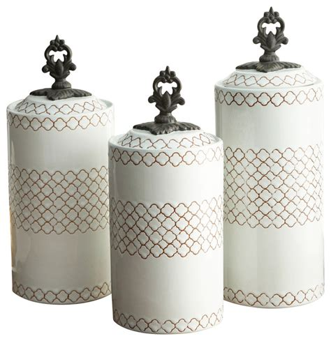 White Kitchen Canister Sets Earthenware Canisters Set Of 3 White Contemporary