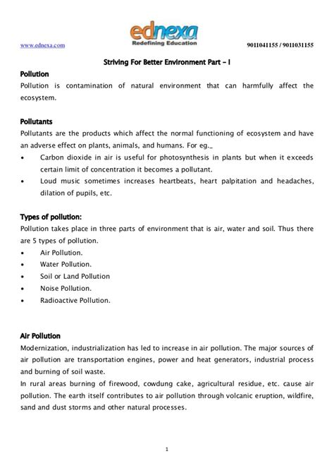 short note on design for environment important notes 10th science striving for better