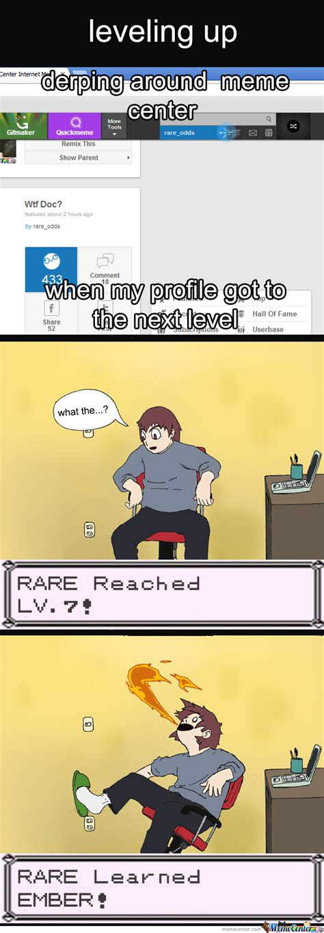leveling up on meme center by rare odds meme center