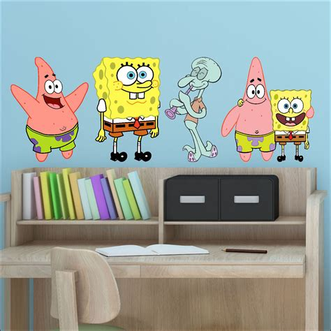 transfer stickers for walls 4 x spongebob squidward colour wall stickers vinyl transfer decal 30cm bespoke graphics