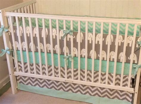 Crib Bedding Set Gray Mint Green Elephant Mint Green Crib Bedding